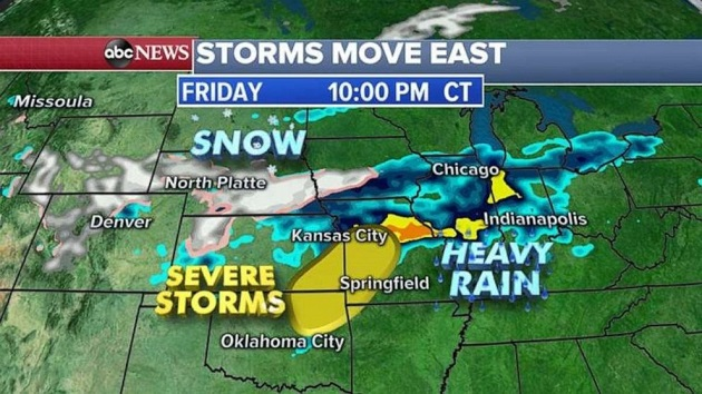 Heavy rain, severe storms to hit central US