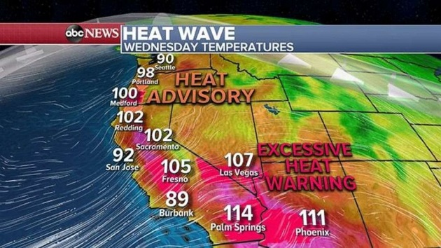 Record heat out West, with flash flooding in the East
