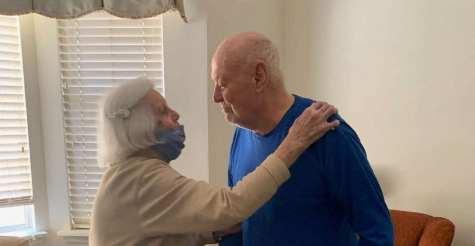 Couple in their 90s reunited after being separated for a year due to COVID-19